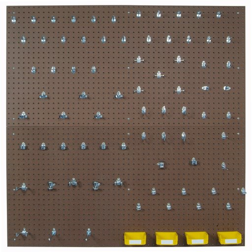 View a Larger Image of (2) 24 In. W x 48 In. H x 1/4 In. D Tempered Wood Pegboards with 79 pc. DuraHook Assortment, 4 Hanging Bins & Wall Mount