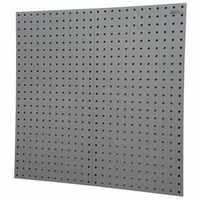 "2-LocBoard® 18""W x 9/16""D x 36""H, 18G Steel Sq. Hole Pegbrds w/30pc LocHook® & Bin Assort - Gray"