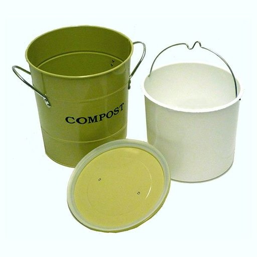 View a Larger Image of 2-N-1 Kitchen Compost Bucket, Green, Model CPBG01