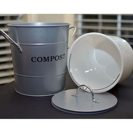 View a Larger Image of 2-N-1 Kitchen Compost Bucket, Silver, Model CPBS04