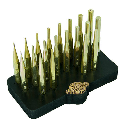 View a Larger Image of 20 Piece Brass Punch Set w/Bench Block