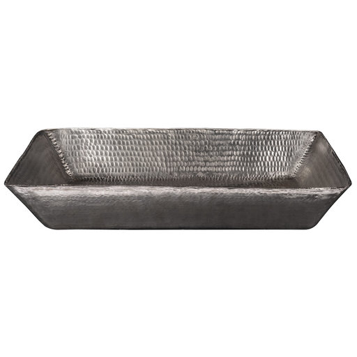 "View a Larger Image of 20"" Rectangle Vessel Hammered Copper Sink in Nickel"