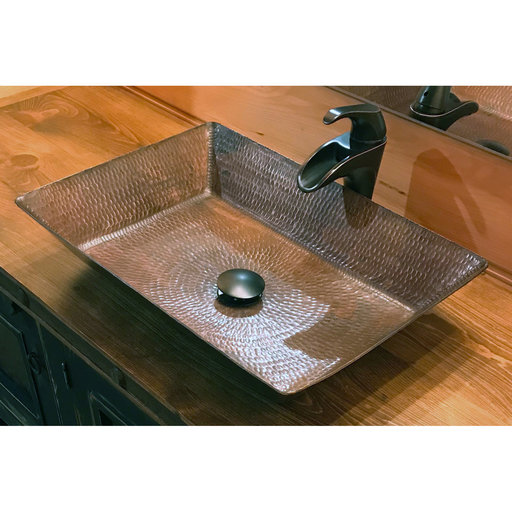 "View a Larger Image of 20"" Rectangle Vessel Hammered Copper Sink"
