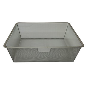 "20""x14""x7"" Wire Mesh Basket, Champagne Nickel"