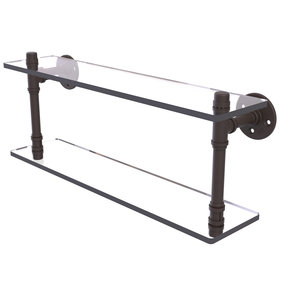 "22"" Double Glass Shelf, Oil Rubbed Bronze Finish"