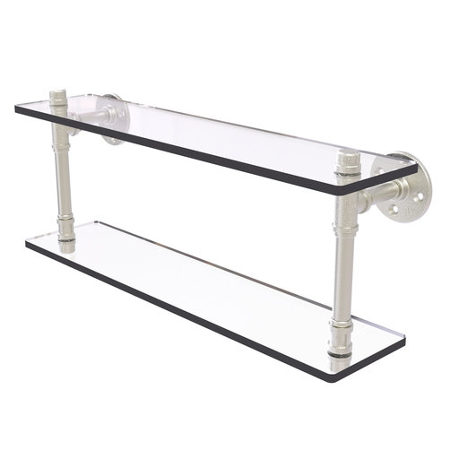 """View a Larger Image of  22"""" Double Glass Shelf, Satin Nickel Finish"""
