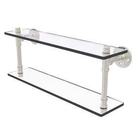 "22"" Double Glass Shelf, Satin Nickel Finish"