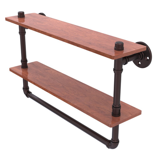 "View a Larger Image of  22"" Double Ironwood Shelf with Towel Bar, Antique Bronze Finish"
