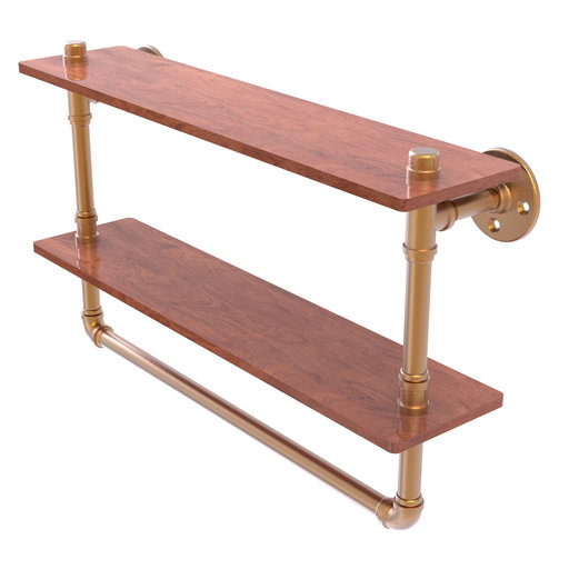 "View a Larger Image of  22"" Double Ironwood Shelf with Towel Bar, Brushed Bronze Finish"