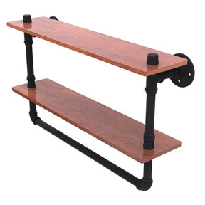 "22"" Double Ironwood Shelf with Towel Bar, Matt Black Finish"