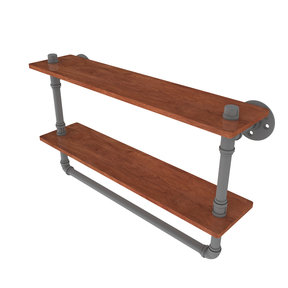 "22"" Double Ironwood Shelf with Towel Bar, Matt Gray Finish"