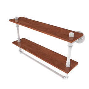 "22"" Double Ironwood Shelf with Towel Bar, Matt White Finish"