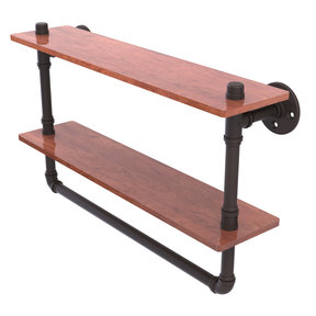 "22"" Double Ironwood Shelf with Towel Bar, Oil Rubbed Bronze Finish"