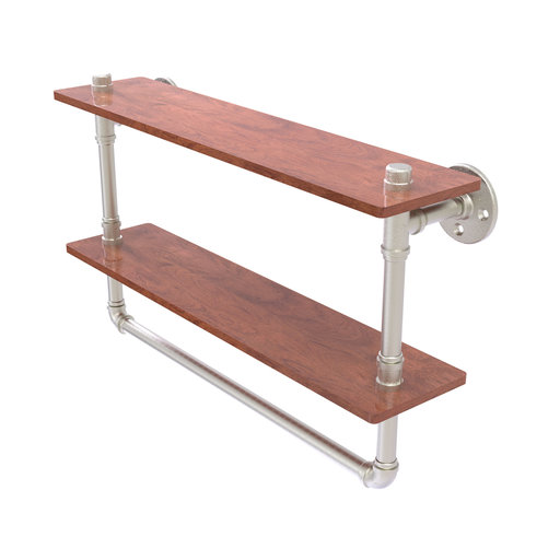 """View a Larger Image of  22"""" Double Ironwood Shelf with Towel Bar, Satin Nickel Finish"""