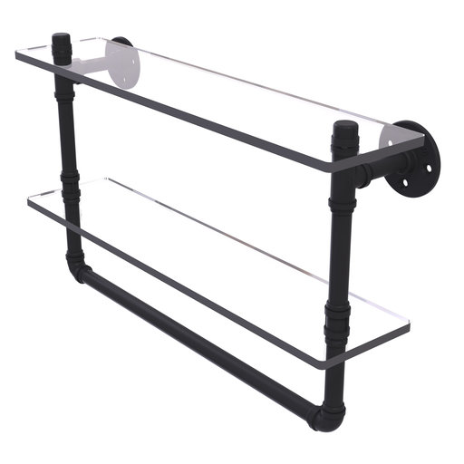 "View a Larger Image of  22"" Double Glass Shelf with Towel Bar, Matt Black Finish"