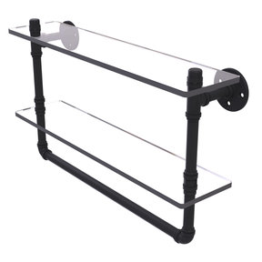 "22"" Double Glass Shelf with Towel Bar, Matt Black Finish"