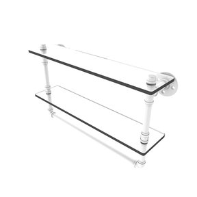 "22"" Double Glass Shelf with Towel Bar, Matt White Finish"