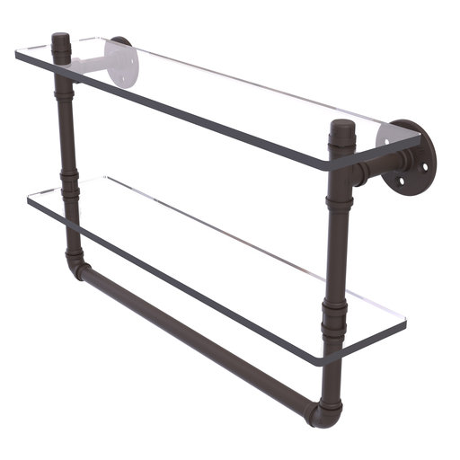 """View a Larger Image of  22"""" Double Glass Shelf with Towel Bar, Oil Rubbed Bronze Finish"""