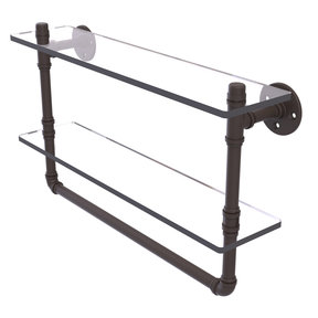 "22"" Double Glass Shelf with Towel Bar, Oil Rubbed Bronze Finish"