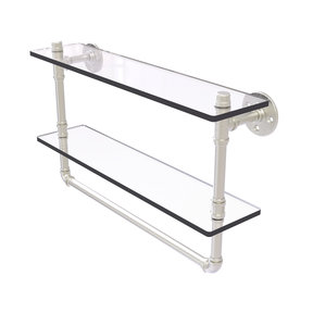 "22"" Double Glass Shelf with Towel Bar, Satin Nickel Finish"