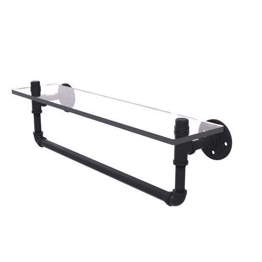 "View a Larger Image of  22"" Glass Shelf with Towel Bar, Matt Black Finish"