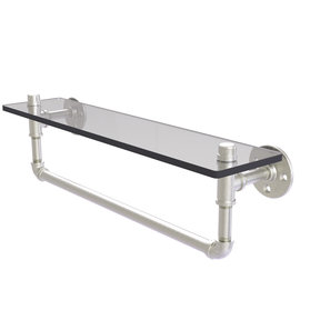 "22"" Glass Shelf with Towel Bar, Satin Nickel Finish"
