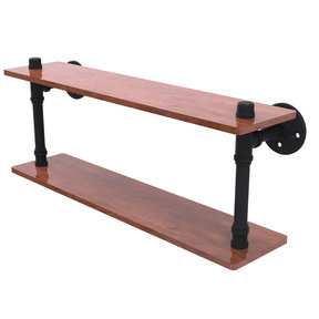 "22"" Ironwood Double Shelf, Matt Black Finish"