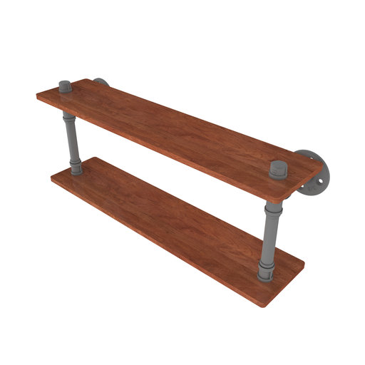 "View a Larger Image of  22"" Ironwood Double Shelf, Matt Gray Finish"