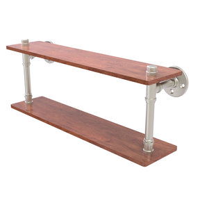 "22"" Ironwood Double Shelf, Satin Nickel Finish"
