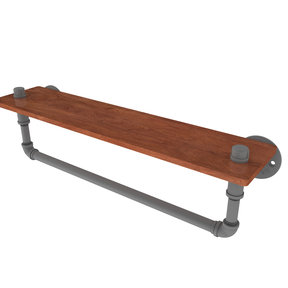 "22"" Ironwood Shelf with Towel Bar, Matt Gray Finish"