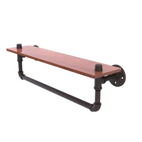 "22"" Ironwood Shelf with Towel Bar, Oil Rubbed Bronze Finish"