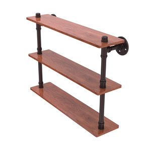 "22"" Ironwood Triple Shelf, Antique Bronze Finish"