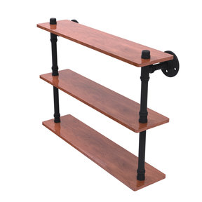"22"" Ironwood Triple Shelf, Matt Black Finish"