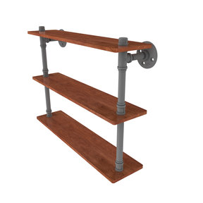 "22"" Ironwood Triple Shelf, Matt Gray Finish"