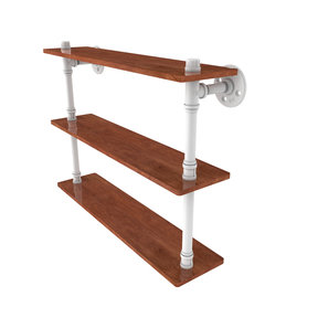 "22"" Ironwood Triple Shelf, Matt White Finish"