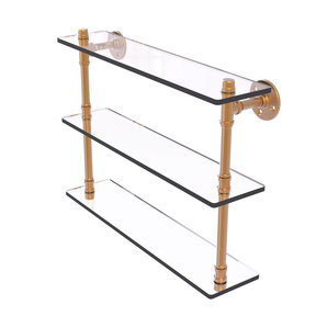 "22"" Triple Glass Shelf, Brushed Bronze Finish"