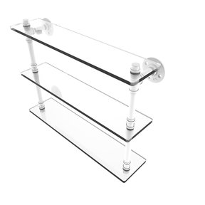 "22"" Triple Glass Shelf, Matt White Finish"