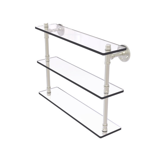 """View a Larger Image of  22"""" Triple Glass Shelf, Satin Nickel Finish"""
