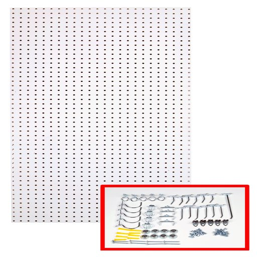 View a Larger Image of 24 In. W x 48 In. H x 1/4 In. D Custom Painted Blissful White Heavy Duty Tempered Round Hole Pegboards with 36 pc. Locki