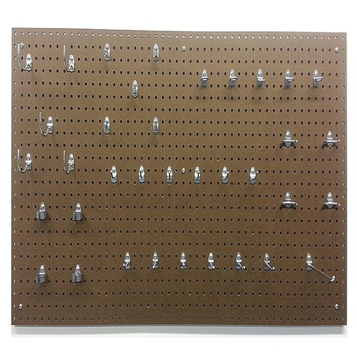 View a Larger Image of 24 In. W x 48 In. H x 1/4 In. D Heavy Duty Commercial Grade Tempered Round Hole Pegboards with 36 pc. Locking Hook Assor