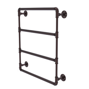 "24"" Wall Mounted Ladder Towel Bar, Antique Bronze Finish"