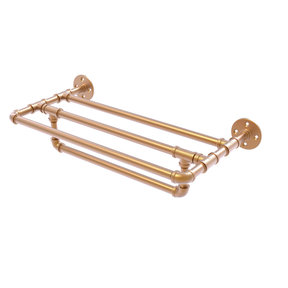 "24"" Wall Mounted Towel Shelf with Towel Bar, Brushed Bronze Finish"