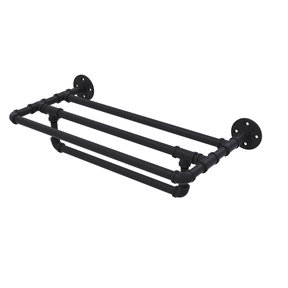 "24"" Wall Mounted Towel Shelf with Towel Bar, Matt Black Finish"