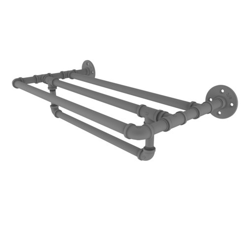 "View a Larger Image of  24"" Wall Mounted Towel Shelf with Towel Bar, Matt Gray Finish"