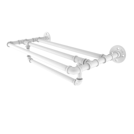 """View a Larger Image of  24"""" Wall Mounted Towel Shelf with Towel Bar, Matt White Finish"""