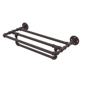 "24"" Wall Mounted Towel Shelf with Towel Bar, Oil Rubbed Bronze Finish"