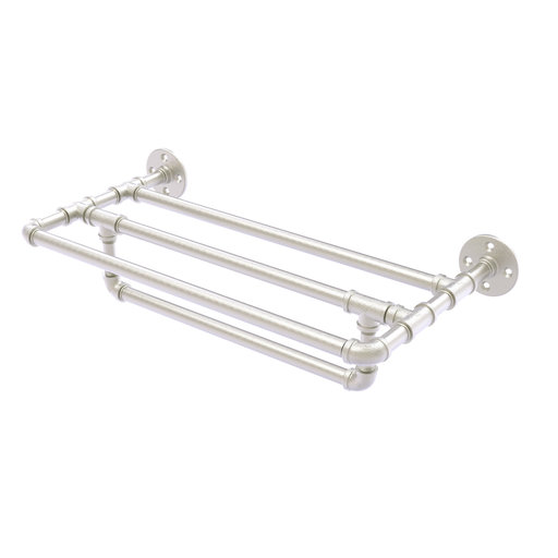 "View a Larger Image of  24"" Wall Mounted Towel Shelf with Towel Bar, Satin Nickel Finish"