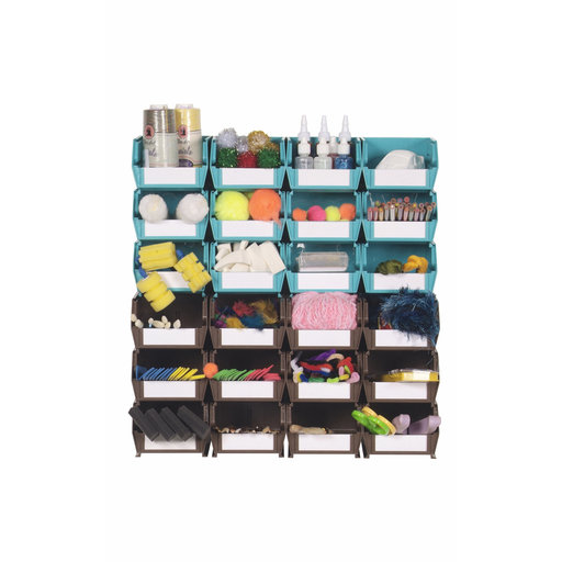 View a Larger Image of 26pc. Wall Storage Unit - Teal & Brown