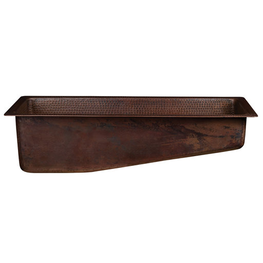"View a Larger Image of 28"" Rectangle Hammered Copper Slanted Bar/Prep Sink with 3.5"" Drain Opening"
