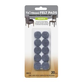 "3/4"" Round Heavy Duty Self Stick Felt Pads 20 pc"